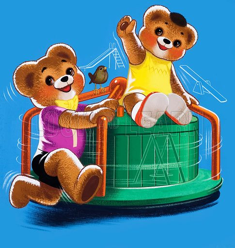 Teddy Bears on merry-go-round (with hidden objects). Original artwork for Teddy Bear (issue yet to be identified).