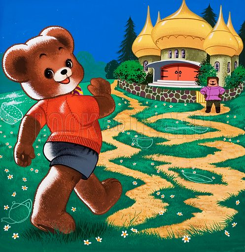 Teddy Bear approaching exotic cottage (with hidden objects).  Original artwork for Teddy Bear (issue yet to be identified).