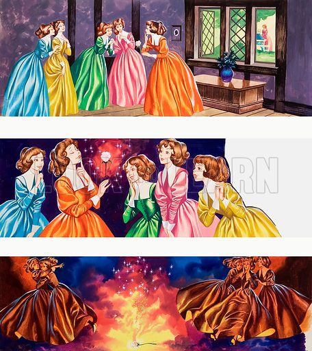 Illustrations from Beauty and the Beast. Original artwork for illustrations on p3 of Once Upon a Time issue no 20.