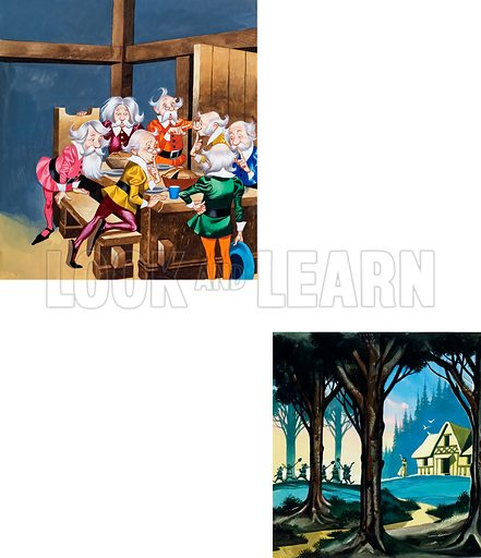 Illustrations for Snow-White and the Seven Dwarfs. Original artwork (incomplete) for illustrations on p2 of Once Upon a Time issue no 41.