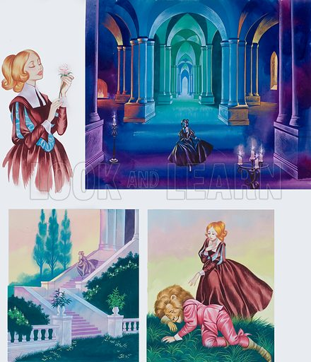 Illustrations for Beauty and the Beast.  Original artwork for illustrations on p3 of Once Upon a Time issue no 21.  Lent for scanning by the Illustration Art Gallery.