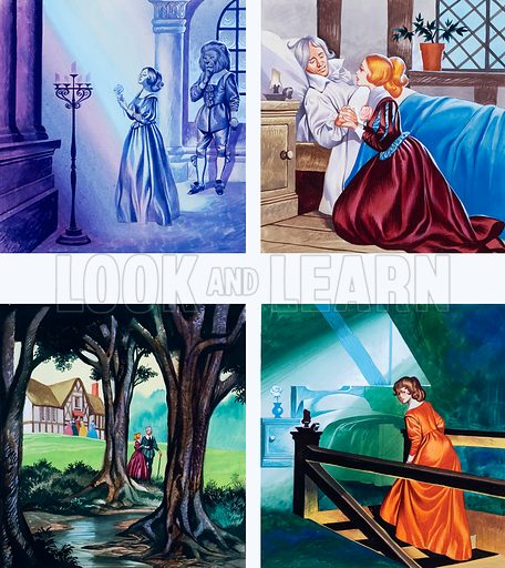 Illustrations for Beauty and the Beast.  Original artwork for illustrations on p2 of Once Upon a Time issue no 20.  Lent for scanning by the Illustration Art Gallery.