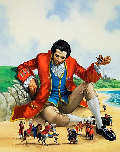Gulliver in Lilliput, scene from Gulliver's Travels, by Jonathan Swift. Original artwork for illustration in Once Upon a Time.