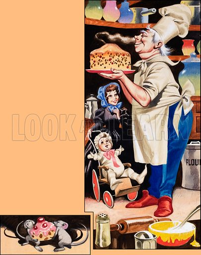 Baker sniffing a cake.  Original artwork for Once Upon a Time (issue yet to be identified).  Lent for scanning by the Illustration Art Gallery.