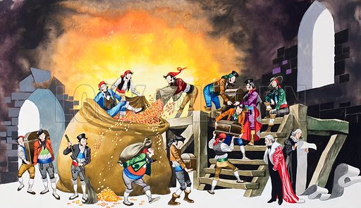 Michael and the Mighty Men. Original artwork for illustration in Once Upon a Time (isssue yet to be identified).