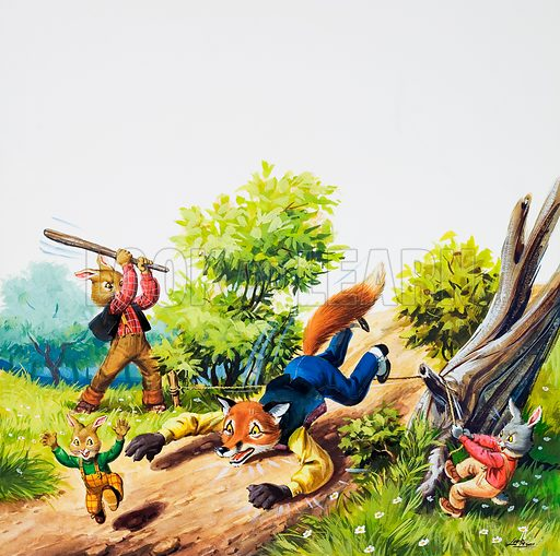 Brer Rabbit.  Original artwork for illustration in Once Upon a Time (issue yet to be identified).  Lent for scanning by the Illustration Art Gallery.
