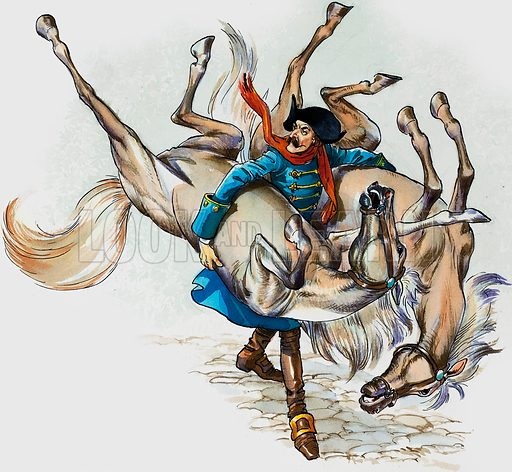 The Wonderful Adventures of Baron Munchausen. Original artwork for illustration in Treasure.