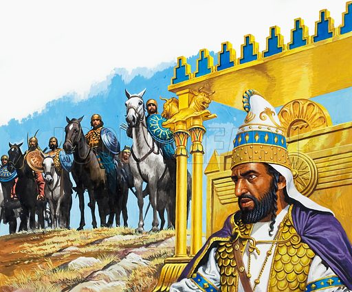 Xerxes I(519–465 BC), Emperor of Persia. Original artwork for illustration on p10 of Look and Learn issue no 942 (9 February 1980).