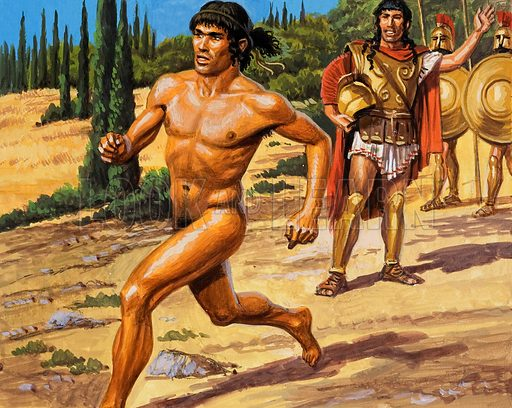 Greek runner. Original artwork for Look and Learn (issue yet to be identified).