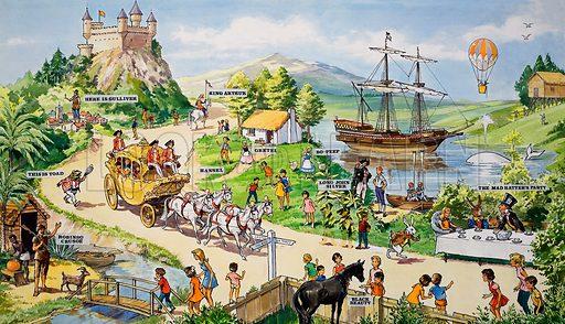 Theme Park of Children's Literature. Original artwork for Teddy Bear Annual 1973.