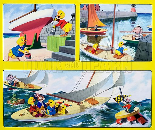 Sailing.  Original artwork for cover of Playhour (issue yet to be identified).  Lent for scanning by the Illustration Art Gallery.