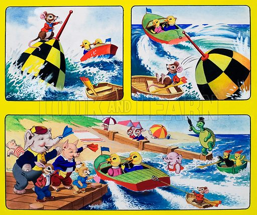 Boating.  Original artwork for cover of Playhour issue of 13 July 1958.  Lent for scanning by the Illustration Art Gallery.
