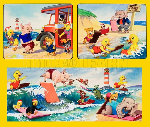 Surfing.  Original artwork for cover of Playhour issue of 1 June 1957.  Lent for scanning by the Illustration Art Gallery.