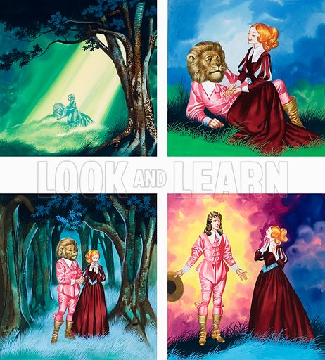Beauty and the Beast. Original artwork for illustration in Once Upon a Time.  Lent for scanning by the Illustration Art Gallery.