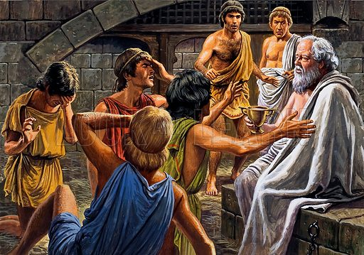 Socrates.  Surrounded by his sorrowing friends, the condemned man calmly took the cup of poison.