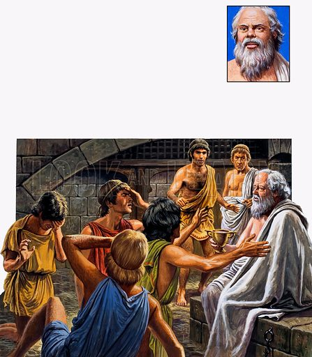 Socrates.  Surrounded by his sorrowing friends, the condemned man calmly took the cup of poison.  Inset: Portrait of Socrates.  Original artwork for illustration on p7 of Look and Learn issue no 989 (21 February 1981).  Lent for scanning by the Illustration Art Gallery.