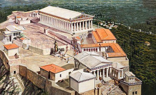 Acropolis and Parthenon, Athens, ancient Greece.