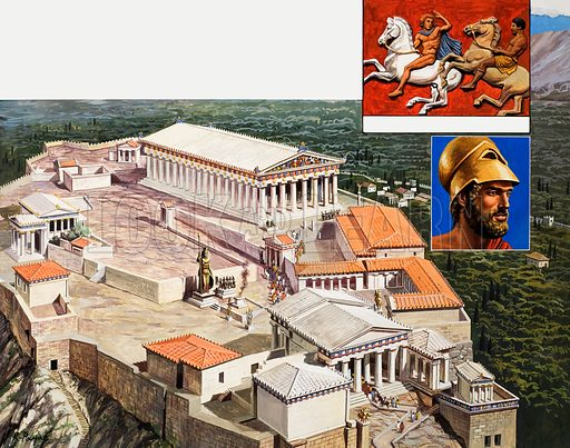 The Acropolis and Parthenon.  Original artwork for illustration on pp8-9 of Look and Learn issue no 987 (7 February 1981).  Lent for scanning by the Illustration Art Gallery.