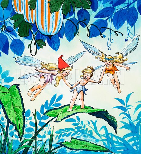 Fairies.  Original artwork for illustration in Once Upon a Time issue no 55.  Lent for scanning by the Illustration Art Gallery.