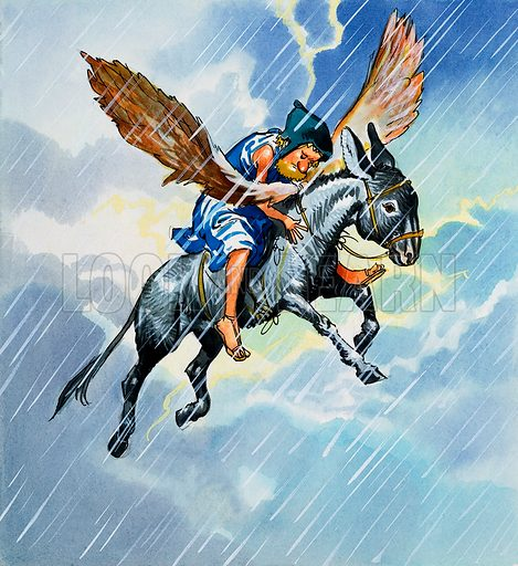 Riding a donkey asleep in the rain. Original artwork for illustration in Once Upon a Time.