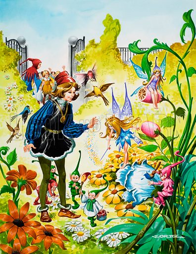 Spring in the royal garden. Original artwork for cover of Once Upon a Time issue no 165.