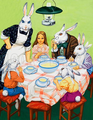 Taking tea with rabbits.  Original artwork for Teddy Bear.  Lent for scanning by the Illustration Art Gallery.
