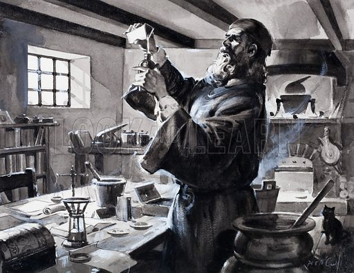 Roger Bacon (c1219-c1292), English monk, scientist and alchemist, making gunpowder. Original artwork for Look and Learn.