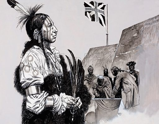 American Indian.  Original artwork for Look and Learn.  Lent for scanning by the Illustration Art Gallery.