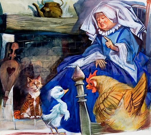 Woman with farm animals.  Original artwork for Once Upon a Time.  Lent for scanning by the Illustration Art Gallery.