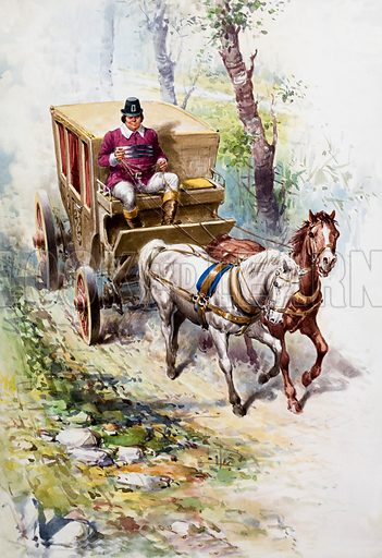 Carriage drawn by horses.  Original artwork for Once upon a Time.  Lent for scanning by the Illustration Art Gallery.