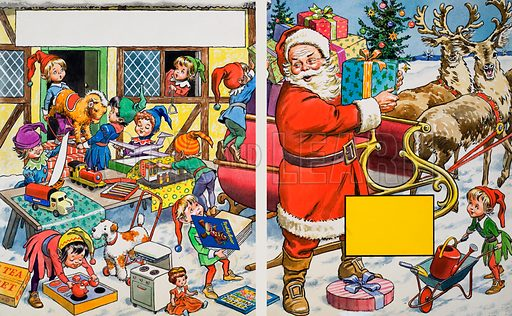Santa Claus organising presents.  Original artwork for a Teddy Bear annual.  Lent for scanning by the Illustration Art Gallery.