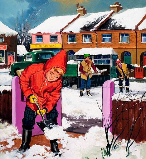 Shovelling snow.  Original artwork for Teddy Bear.  Lent for scanning by the Illustration Art Gallery.