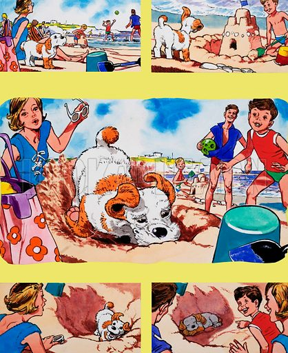 Puppy on beach.  Original artwork for Teddy Bear issue of 30 June 1973.  Lent for scanning by the Illustration Art Gallery.