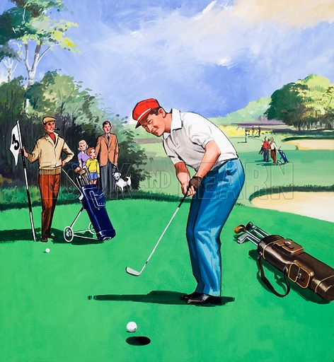 Golf.  Original artwork for illustration in Teddy Bear issue of 8 June 1968.  Lent for scanning by the Illustration Art Gallery.