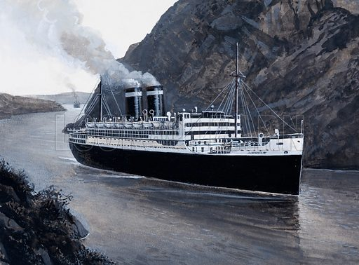 The Culebra/Gaillard Cut. The Culebra Cut was renamed the Gaillard after the engineer responsible for its construction, and large ships were soon sailing through it. Original artwork for Look and Learn issue no 935 (22 December 1979).