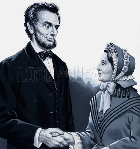 Abraham Lincoln meeting Harriet Beecher Stowe.  Original artwork for illustration on p30 of Look and Learn issue no 960 (2 August 1980).  Lent for scanning by the Illustration Art Gallery.