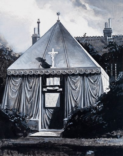 Tomb of Sir Richard Burton.  There could have been no better tomb for Burton than the replica made in marble and copper of the type of tent which wandering nomads used in the deserts of Arabia.  Original artwork for illustration on p22 of Look and Learn issue no 1041 (20 February 1982).  Lent for scanning by the Illustration Art Gallery.