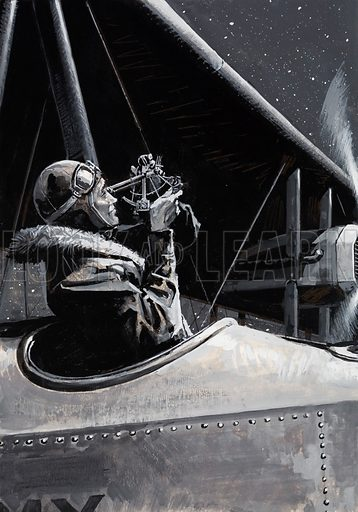 Alcock and Brown.  It was very cold as Brown used his sextant to determine their position.  After eight hours of flying, they were nearly half way to Ireland and a substantial prize.  Original artwork for illustration on p6 of Look and Learn issue no 1036 (16 January 1982).  Lent for scanning by the Illustration Art Gallery.