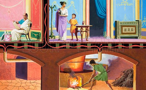 Central heating in a Roman villa. Original artwork for illustrtion on p60 of the Look and Learn Book of 1001 Questions and Answers, 1983.