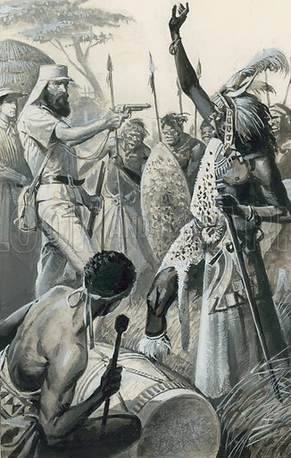 Samuel Baker.  King Kamrasi was determined to put every obstacle in Baker's way.  On one occasion he told Baker that he could continue with his journey only if he left his wife behind.  Drawing his revolver Baker pointed it at the king and demanded that he withdraw his objection.  The king had no alternative but to agree.  Original artwork for illustration on p30 of Look and Learn issue no 1040 (13 February 1982).  Lent for scanning by the Gallery of Illustration.