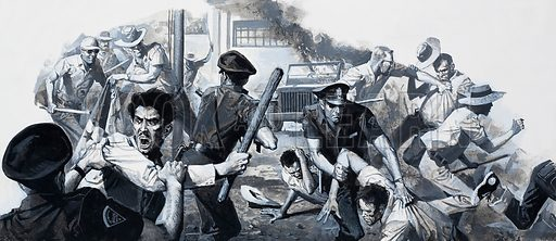 Panamanian riot.  The Panamanians' hatred of the Americans, always simmering below the surface, erupted over to torrid days of violence after a slight had been paid to their sovereignty.  Original artwork for illustration on p14 of Look and Learn issue no 936 (29 December 1979).  Lent for scanning by the Illustration Art Gallery.