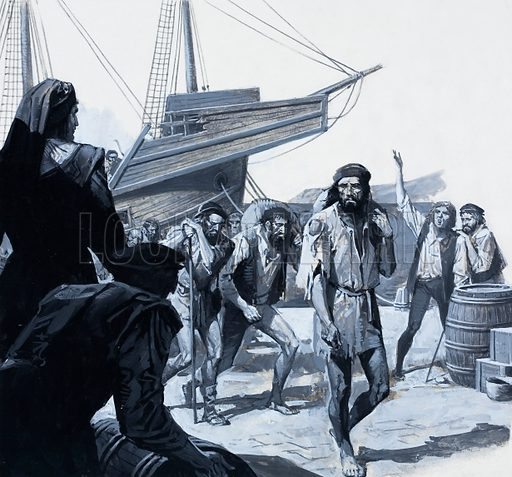 Magellan's Men.  Exhausted and ravaged by disease, the crew of the Victoria, the sole surviving ship of the five that had set out three years before, returned home to an astonished welcome in Seville.  Original artwork for Look and Learn issue no 941 (2 February 1980).  Lent for scanning by the Illustration Art Gallery.
