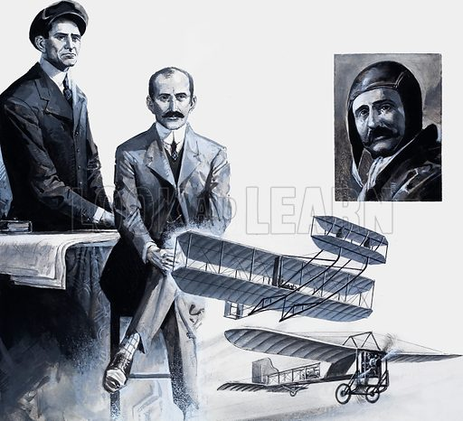 The Wright Brothers.  The first flight by the Wright Brothers at Kitty Hawk, Carolina in 1903 began the amazing story of flying.  They are seen below with the plane.  Right: Louis Bleriot, who flew the English Channel in 1909.  His plane is shown at the bottom of the page.  Original artwork for illustration on p14 of Look and Learn issue no 1034 (2 January 1982).  Lent for scanning by the Illustration Art Gallery.