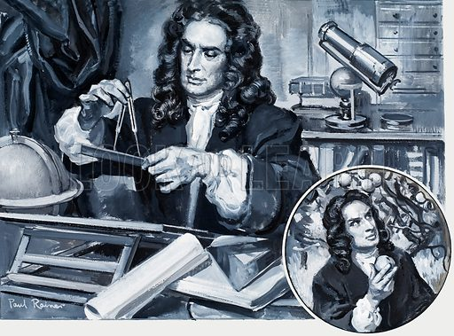 Sir Isaac Newton (1642–1727), English physicist, mathematician and astronomer. Original artwork for illustration on p3 of Look and Learn issue no 313 (13 January 1968).