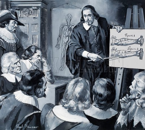 English physician William Harvey (1578–1657) giving a lecture on the circulation of blood in the human body. Original artwork for illustration on p3 of Look and Learn issue no 326 (20 July 1968).