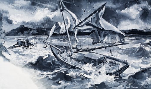 Storm at sea.  Original artwork for story illustration on p25 of Look and Learn issue no 331 (18 May 1968).  Lent for scanning by the Illustration Art Gallery.
