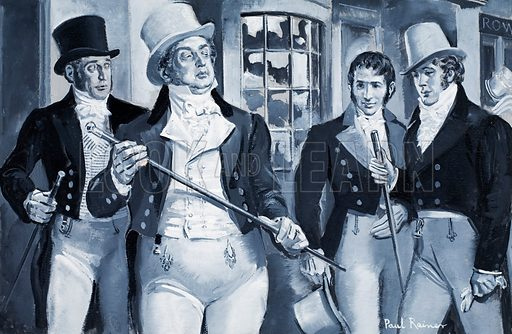 """Who Said…? """"Who's Your Fat Friend?"""" Beau Brummell, about the Prince Regent (later George IV) in 1812. Original artwork for illustration on p3 of Look and Learn issue no 272 (1 April 1967)."""