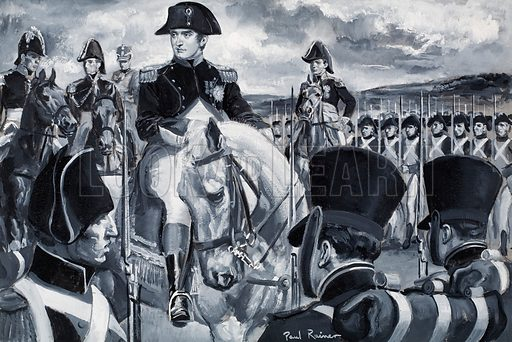 "Who Said...? ""Every French soldier carries the baton of a marshal of France in his knapsack."" Napoleon Bonaparte.  Original artwork for illustration on p9 of Look and Learn issue no 275 (22 April 1967).  Lent for scanning by the Illustration Art Gallery."