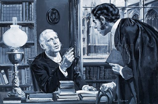 """Who Said...? """"Sir, you have deliberately tasted two whole worms..."""" The Rev. William Archibald Spooner, Warden of New College, Oxford, who habit of transposing letters and syllables in a sentence gave rise to the term 'Spoonerisms'.  Original artwork for illustration on p7 of Look and Learn issue no 276 (29 April 1967).  Lent for scanning by the Illustration Art Gallery. 29/4/67."""