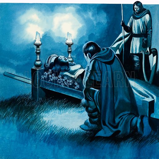 It was not until the procession drew near that Tannhauser realised that the body they were carrying was that of Elizabeth. Original artwork for p46 of L&L no. 599 (7 July 1973).